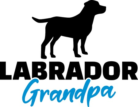 Labrador Grandpa silhouette in black Illustration