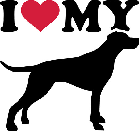 I love my English Pointer with red heart and silhouette