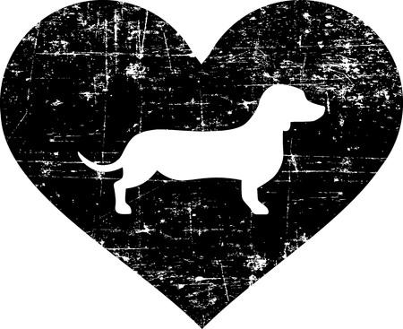 Dackel-Silhouette im schwarzen Herzen