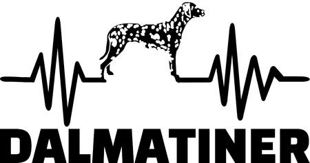Heartbeat pulse line with Dalmatian dog silhouette german Ilustracja