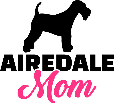 Airedale Terrier mom silhouette with pink word