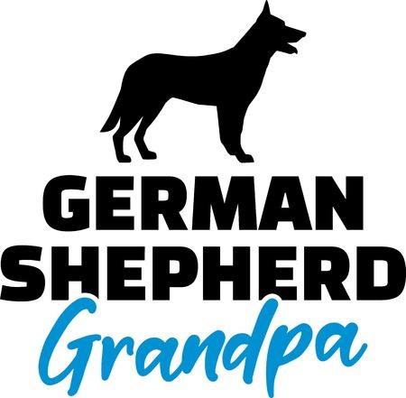 German Shepherd Grandpa silhouette blue word Illustration