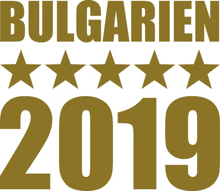 German word for Bulgaria with number 2019 and golden stars
