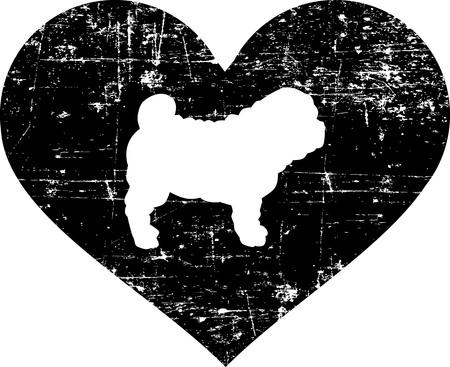 Shar Pei silhouette in black heart