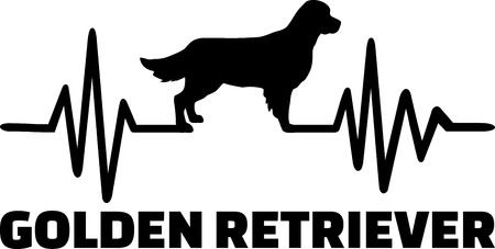 Heartbeat frequency with Golden Retriever dog silhouette  イラスト・ベクター素材
