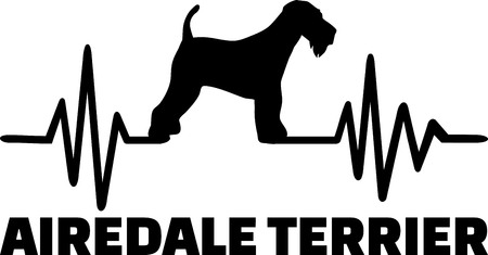 Heartbeat pulse line with Airedale Terrier dog silhouette Illustration