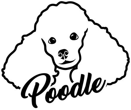 Poodle head with name black white