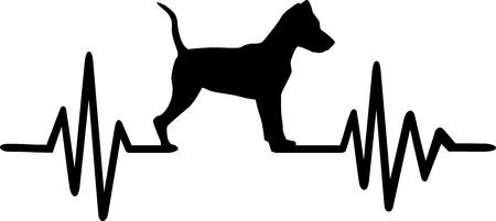 Heartbeat pulse line with Miniature Pinscher dog silhouette