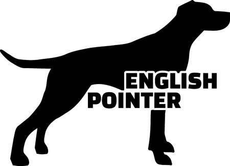 English Pointer silhouette real with word