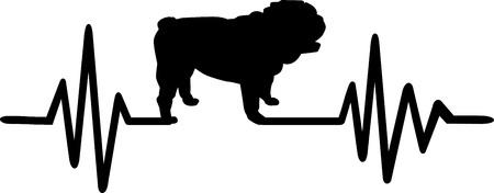 Herzschlag-Pulslinie mit englischer Bulldogge-Hundesilhouette