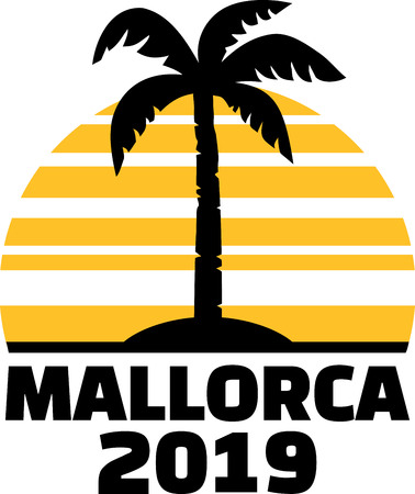 Mallorca 2019 with palm tree and sunset  イラスト・ベクター素材
