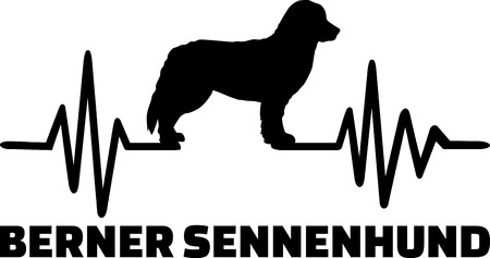 Heartbeat pulse line with Bernese Mountain dog silhouette german Stock Illustratie