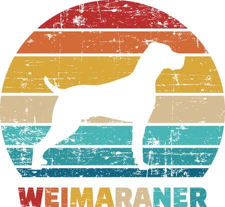 Weimaraner silhouette vintage and retro Reklamní fotografie - 125242852