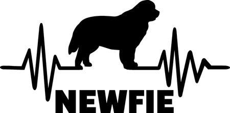 Fréquence des battements cardiaques avec la silhouette de Terre-Neuve Newfie