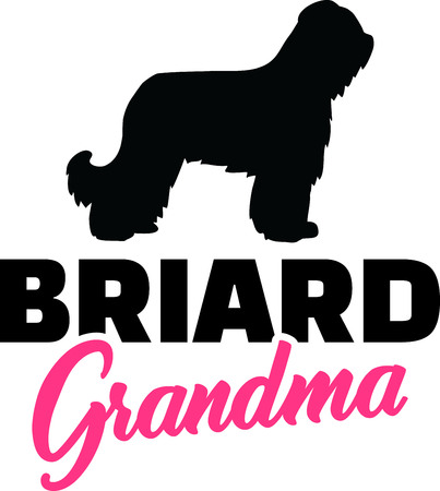 Briard Grandma silhouette in black Illustration