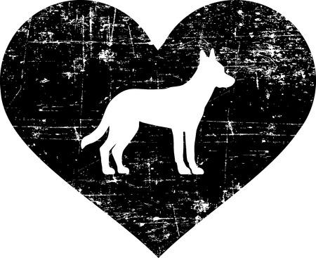 Malinois silhouette in black heart  イラスト・ベクター素材