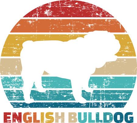 Bulldog inglés silueta vintage y retro