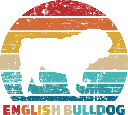 English Bulldog silhouette vintage and retro