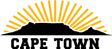 Tafelberg bei Sonnenuntergang in Kapstadt Vektorgrafik