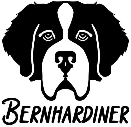 Saint Bernard head black with german name  イラスト・ベクター素材