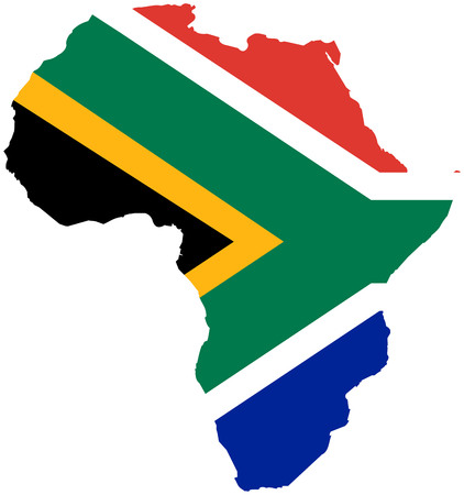 South Africa flag continent silhouette