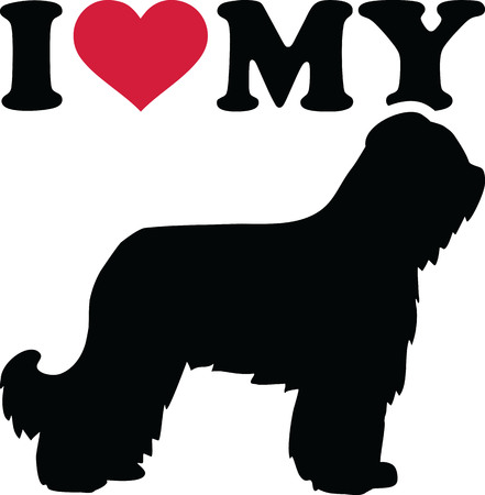 I love my Briard dog silhouette