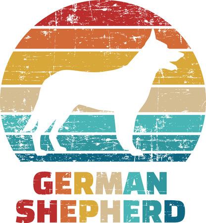 German Shepherd silhouette vintage and retro
