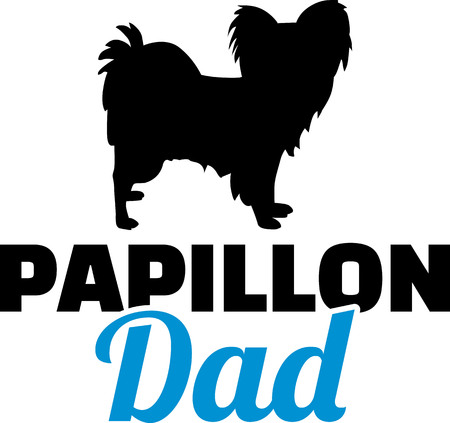 Papillon dad in blue with silhouette