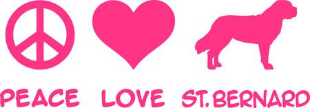 Peace, Love, Saint Bernard slogan pink