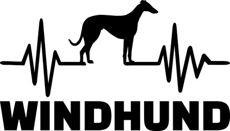 Heartbeat frequency with Greyhound dog silhouette german