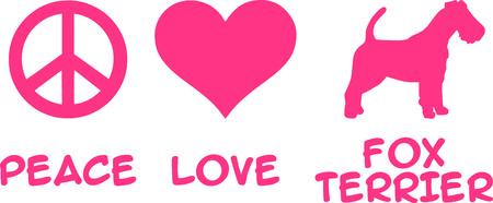 Peace, Love, Fox Terrier slogan pink