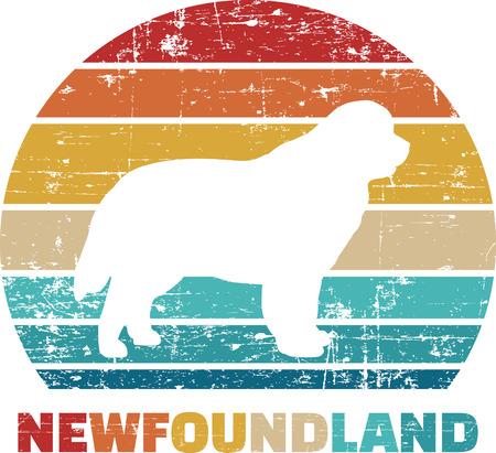 Newfoundland silhouette vintage and retro Banque d'images - 125245223