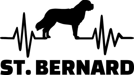 Heartbeat frequency with Saint Bernard dog name and silhouette