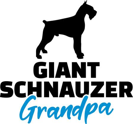 Giant Schnauzer Grandpa silhouette in black  イラスト・ベクター素材