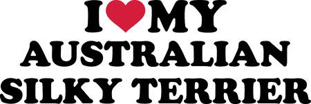 I love my Australian Silky Terrier with red heart Illusztráció