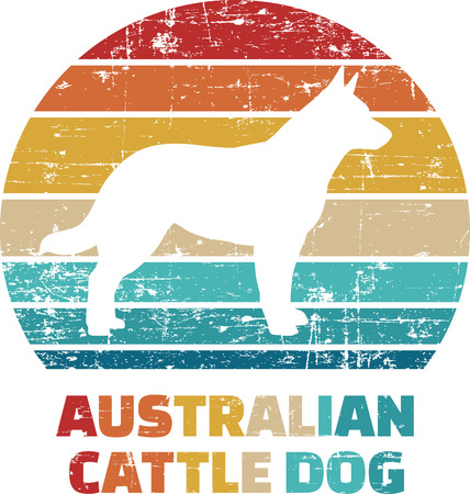Australian Cattledog silhouette vintage and retro