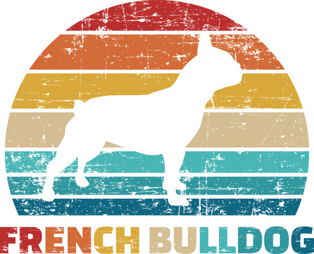 French Bulldog silhouette vintage and retro