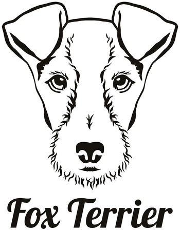 Fox Terrier head black with breed name  イラスト・ベクター素材