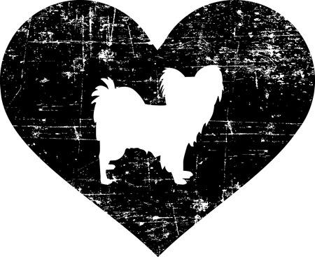 Papillon silhouette in black heart