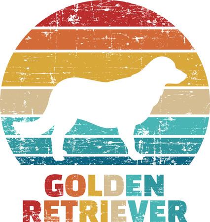 Golden Retriever silhouette vintage and retro  イラスト・ベクター素材