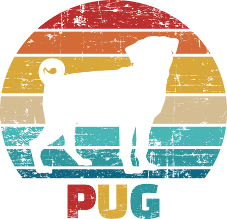 Pug silhouette vintage and retro