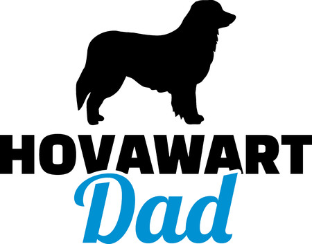 Hovawart dad in blue with silhouette 向量圖像