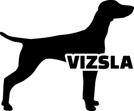 Vizsla in black with silhouette