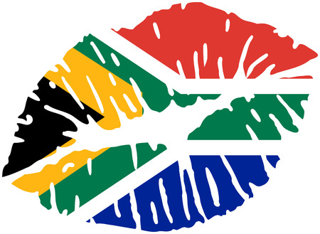 South Africa flag kiss and mouth