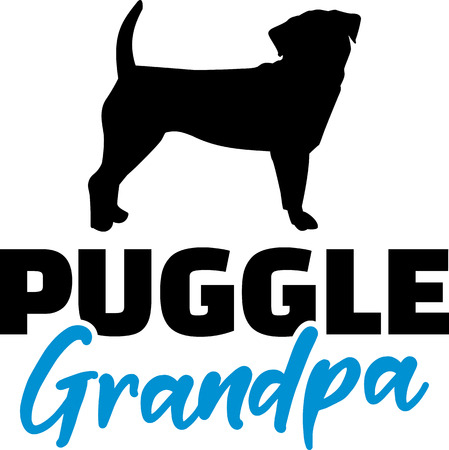 Puggle Grandpa silhouette in black