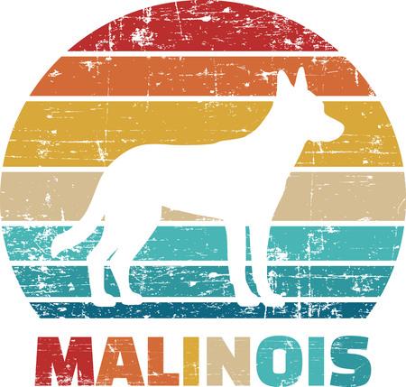 Malinois silhouette vintage and retro  イラスト・ベクター素材