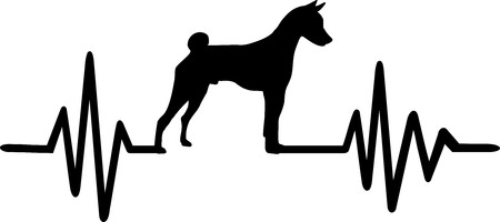 Heartbeat frequency with Basenji dog silhouette