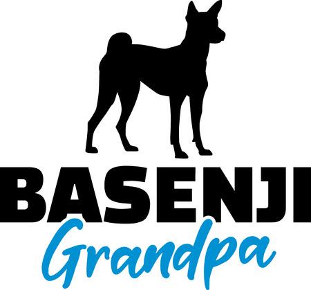 Basenji Grandpa silhouette in black