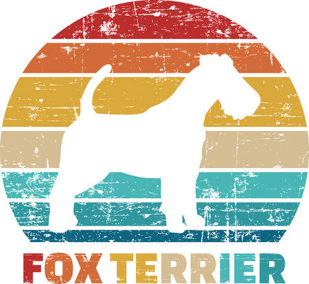 Fox Terrier silhouette vintage and retro