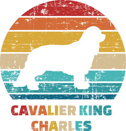 Cavalier King Charles silhouette vintage and retro  イラスト・ベクター素材